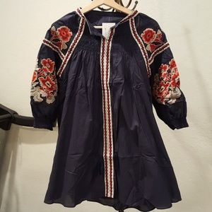 NWT Spool 72 Navy Embroidered Dress